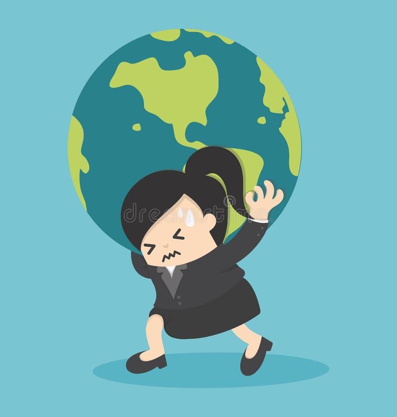 Bedrijfsvrouw die de aardebol houden stock illustratie