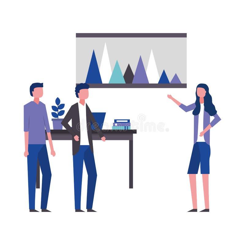 Bedrijfsvrouw die de werkruimte van het rapportbureau tonen royalty-vrije illustratie