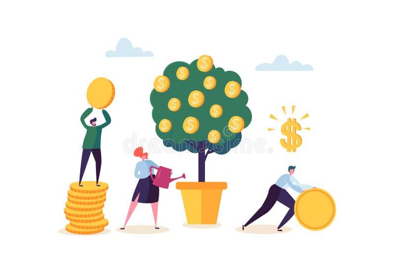 Bedrijfsvrouw die een Geldinstallatie water geven Karakters die Gouden Muntstukken van Geldboom verzamelen Financiële Pofit, Inve stock illustratie