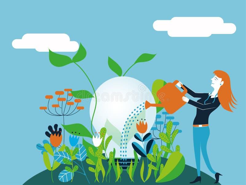 Bedrijfsvrouw die een gloeilamp water geven - de Vectorillustratie voor concept van maakt het kweken van een goed en ecologisch i royalty-vrije illustratie