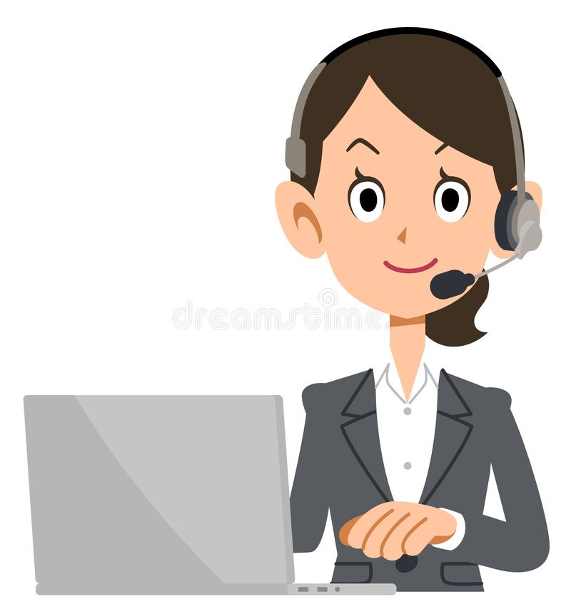 Bedrijfsvrouw die een hoofdtelefoon dragen om een personal computer in werking te stellen stock illustratie