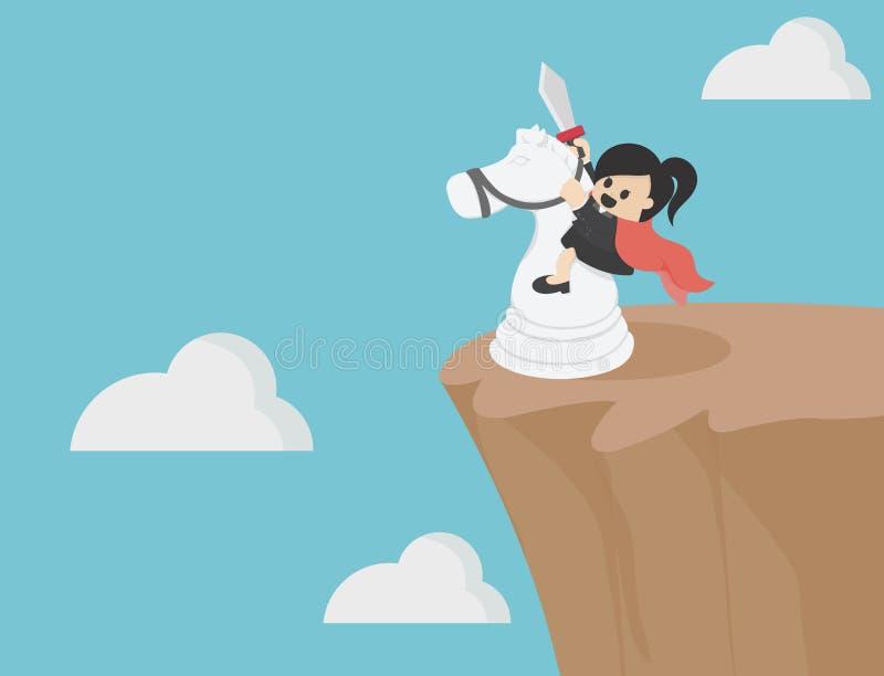 Bedrijfsvrouw die een wit paard berijden op een steile helling royalty-vrije illustratie