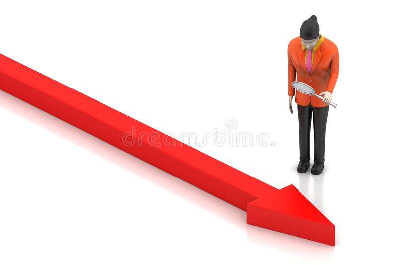 Bedrijfsvrouw die het groeien pijl kijken vector illustratie