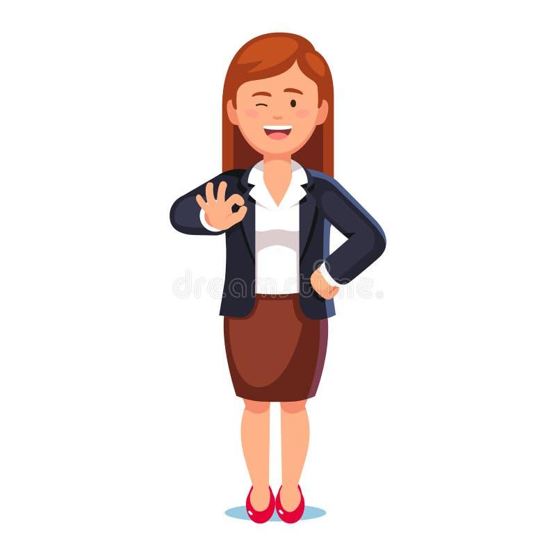 Bedrijfsvrouw die het o.k. teken en knipogen tonen stock illustratie
