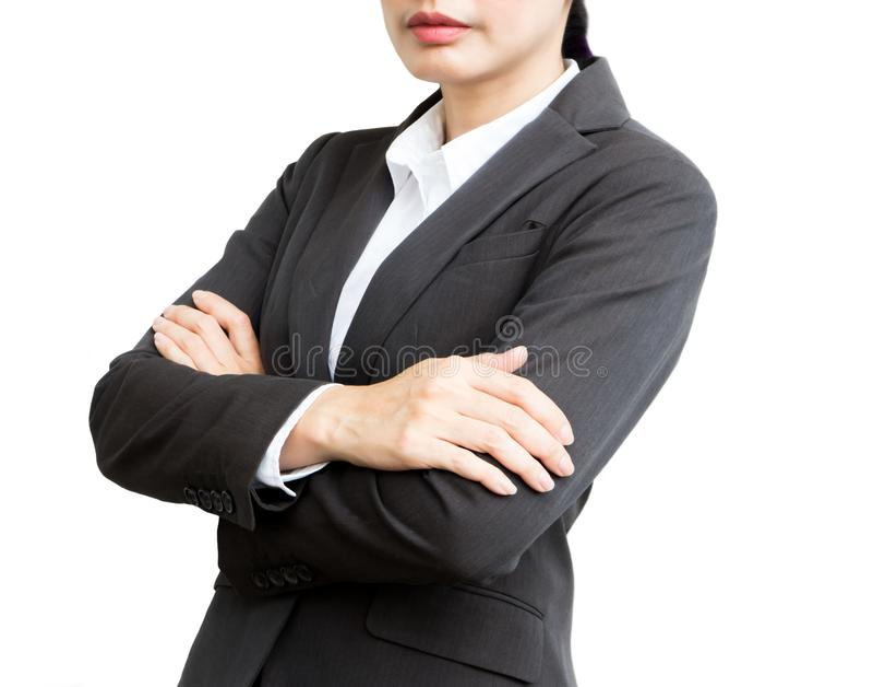 Bedrijfsvrouw die kostuum op geïsoleerd wit dragen royalty-vrije stock afbeelding