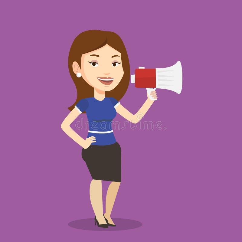 Bedrijfsvrouw die in megafoon spreken royalty-vrije illustratie