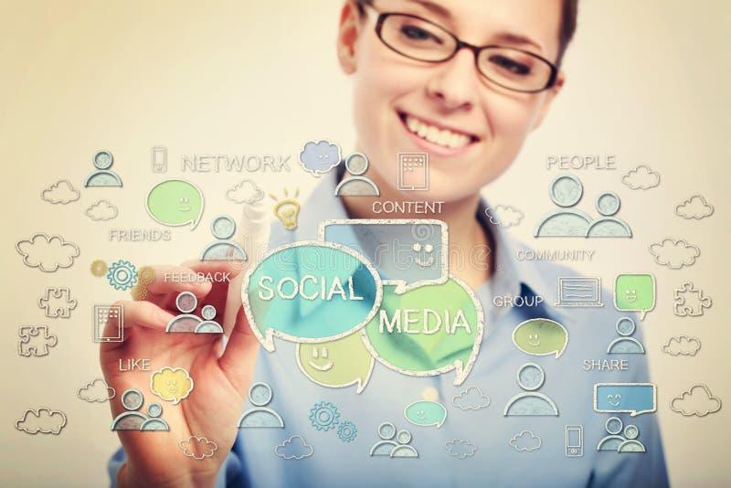 Bedrijfsvrouw die met oogglazen sociale media concepten trekken royalty-vrije stock foto