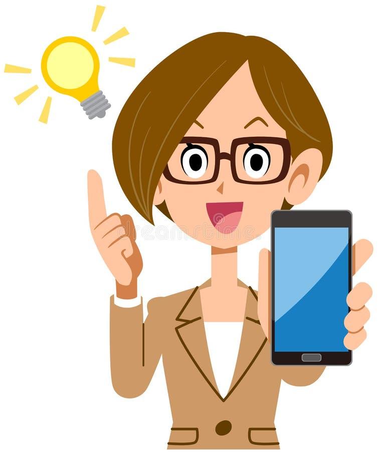 Bedrijfsvrouw die met Smartphone opvlammen stock illustratie