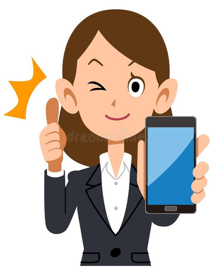 Bedrijfsvrouw die omhoog met smartphone beduimelen vector illustratie
