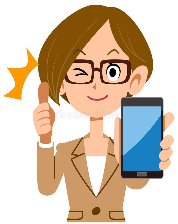 Bedrijfsvrouw die omhoog met smartphone beduimelen royalty-vrije illustratie