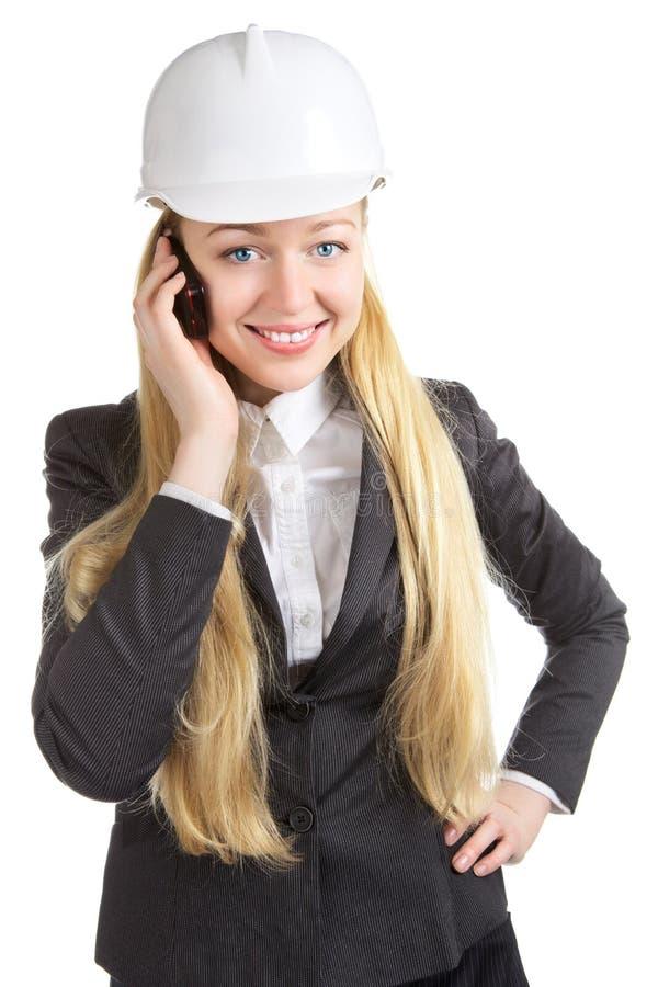 Bedrijfsvrouw die op Celtelefoon spreken royalty-vrije stock foto's