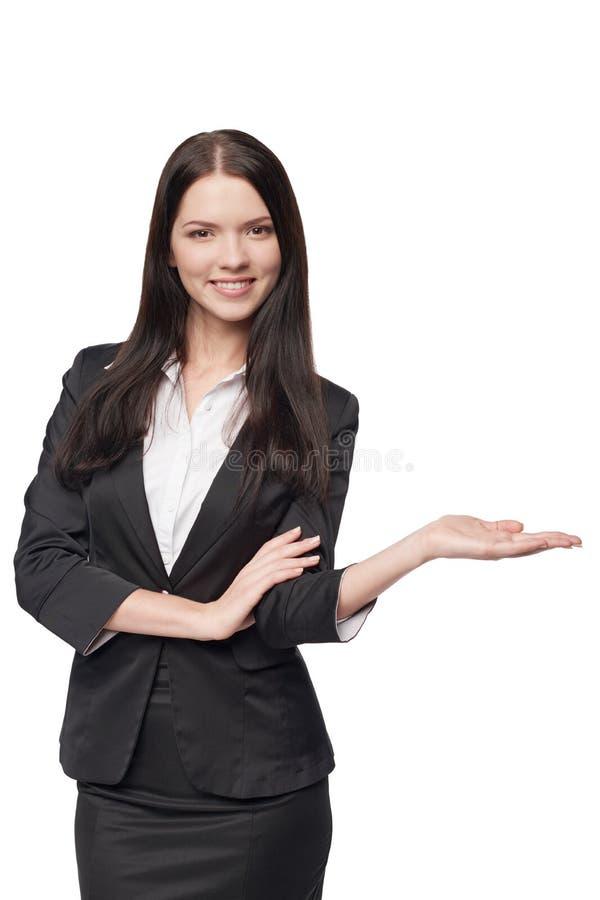 Bedrijfsvrouw die open handpalm tonen royalty-vrije stock afbeelding