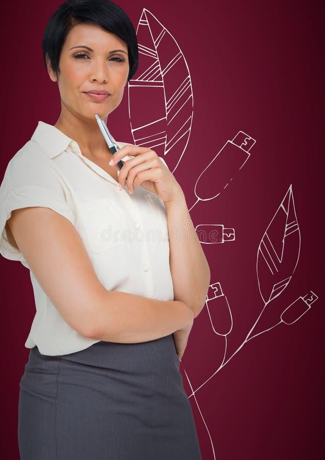 Bedrijfsvrouw die tegen kastanjebruine achtergrond met wit grafisch blad denken royalty-vrije stock foto's