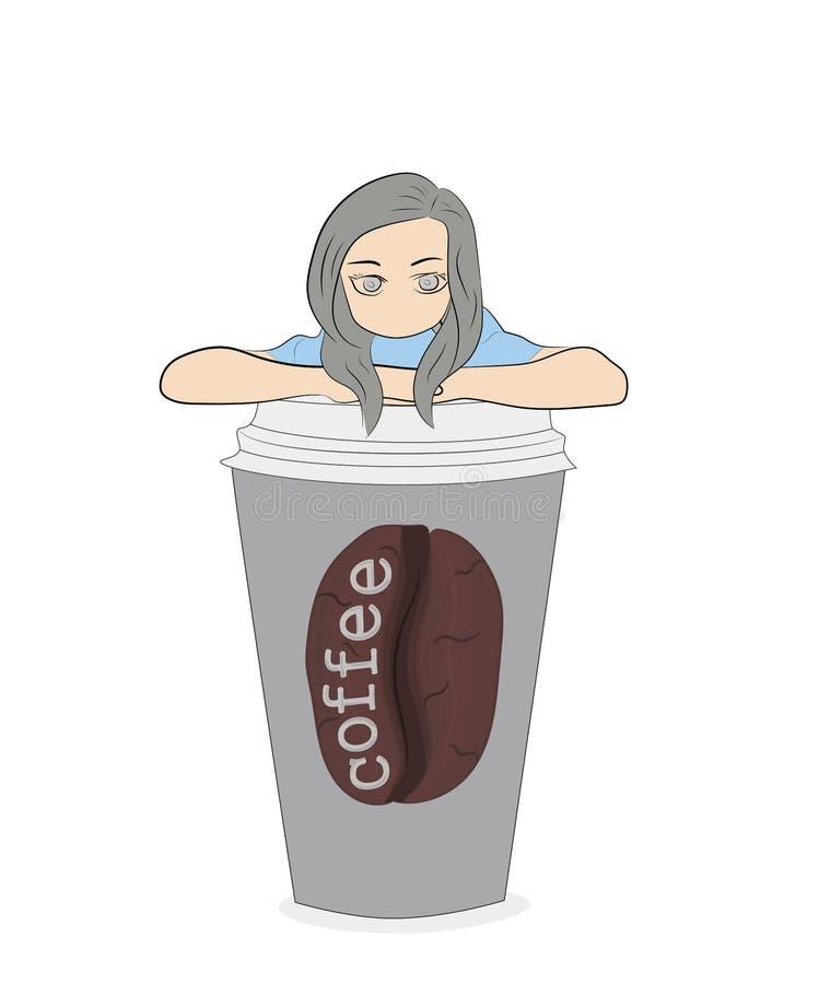 Bedrijfsvrouw die uit koffieglas gluren Vector illustratie stock illustratie