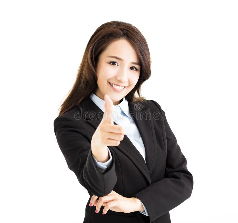 bedrijfsvrouw die vinger richten aan u stock foto's