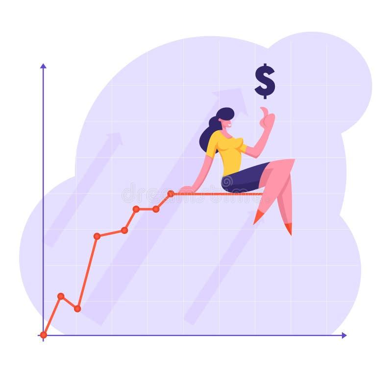 Bedrijfsvrouw die Vinger tot de Zitting van het Dollarteken bovenop het Kweken van Grafiek Gebroken Lijn richten De Analysepijl v royalty-vrije illustratie