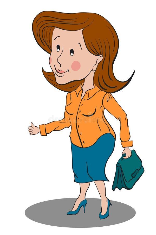 Bedrijfsvrouw die zich in een gele blouse en een blauwe rok bevindt stock afbeeldingen
