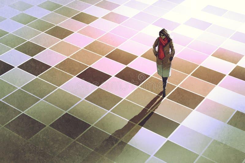 Bedrijfsvrouw die zich op de vloer met grafische patroontegels bevinden royalty-vrije illustratie