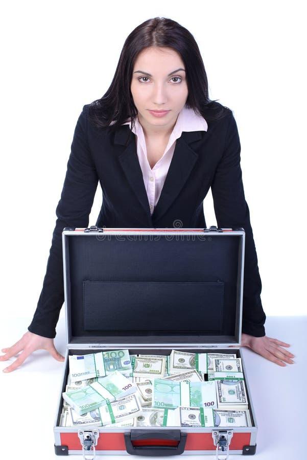 Bedrijfsvrouw en geld royalty-vrije stock afbeeldingen
