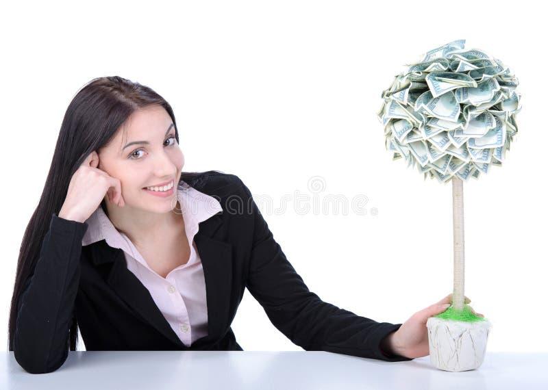 Bedrijfsvrouw en geld stock afbeeldingen