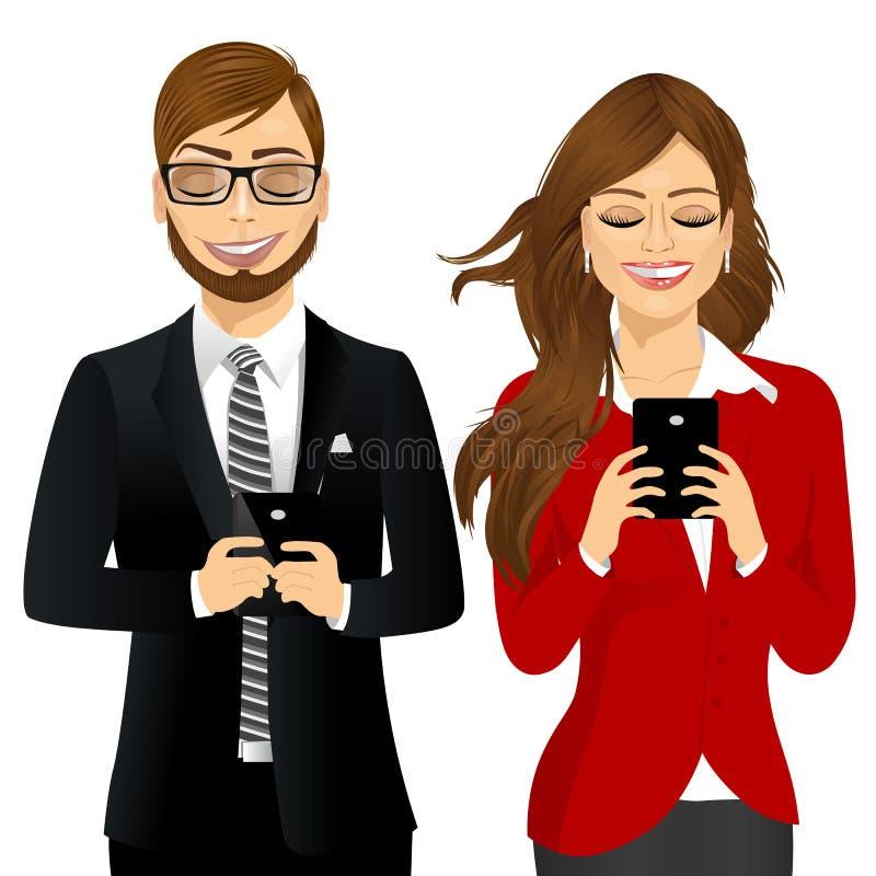 Bedrijfsvrouw en man die mobiele telefoons met behulp van royalty-vrije illustratie