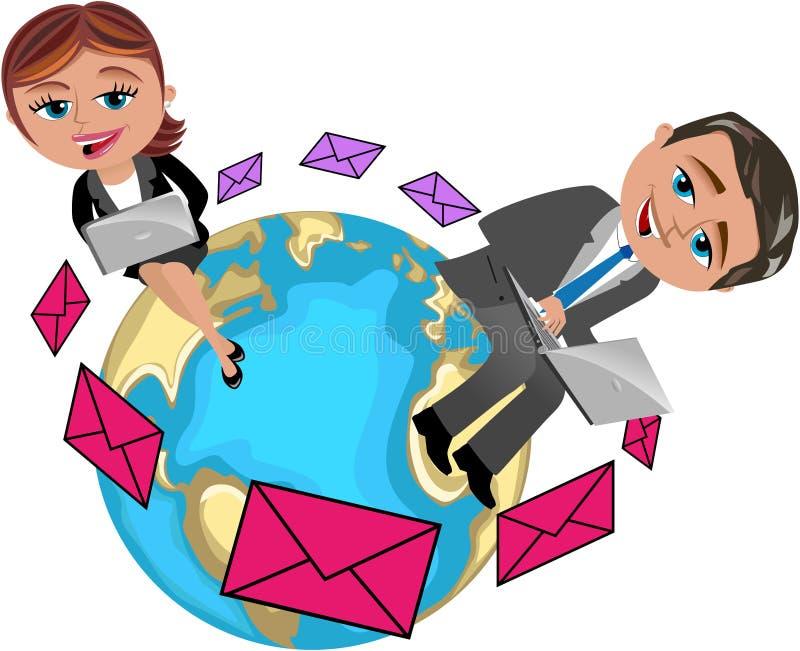 Bedrijfsvrouw en Man Overseinen met Computer stock illustratie