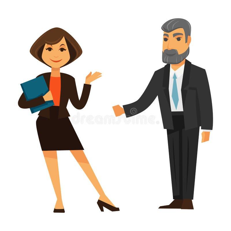 Bedrijfsvrouw en man status geïsoleerd op wit vector illustratie