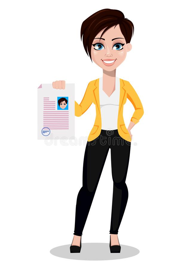 Bedrijfsvrouw, freelancer, bankier Mooie dame in vrijetijdskleding royalty-vrije illustratie