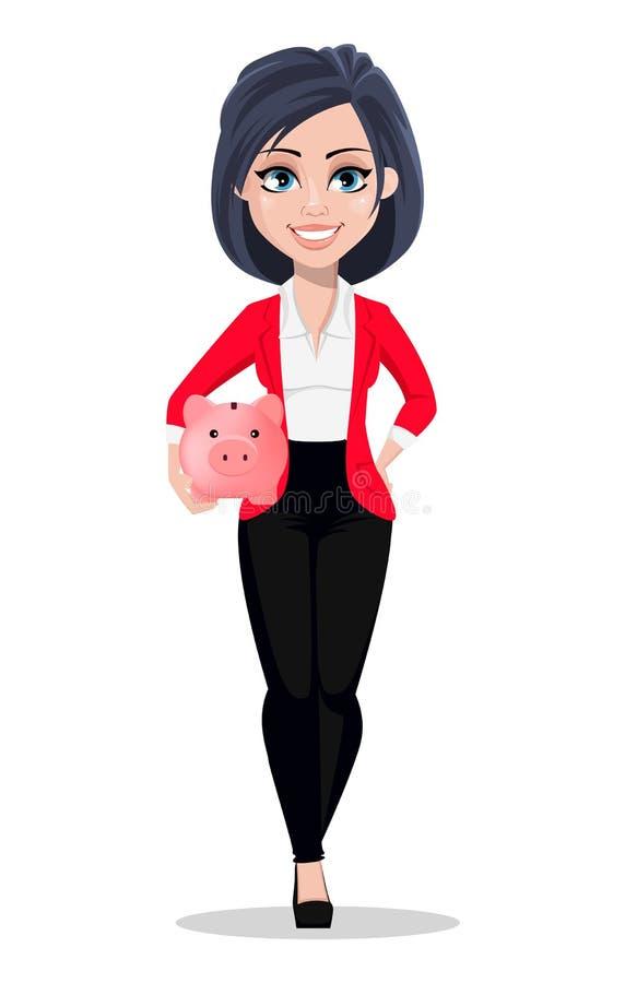 Bedrijfsvrouw, manager, bankier Mooie vrouwelijke bankier in pak stock illustratie