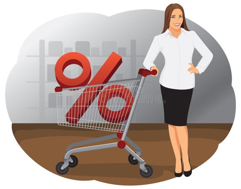 Bedrijfsvrouw met boodschappenwagentje vector illustratie