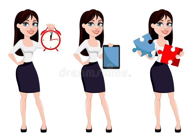 Bedrijfsvrouw met bruin haar, beeldverhaalkarakter vector illustratie