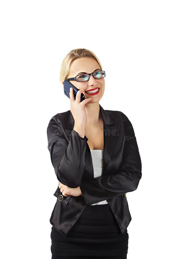 Bedrijfsvrouw met cellphone stock foto's