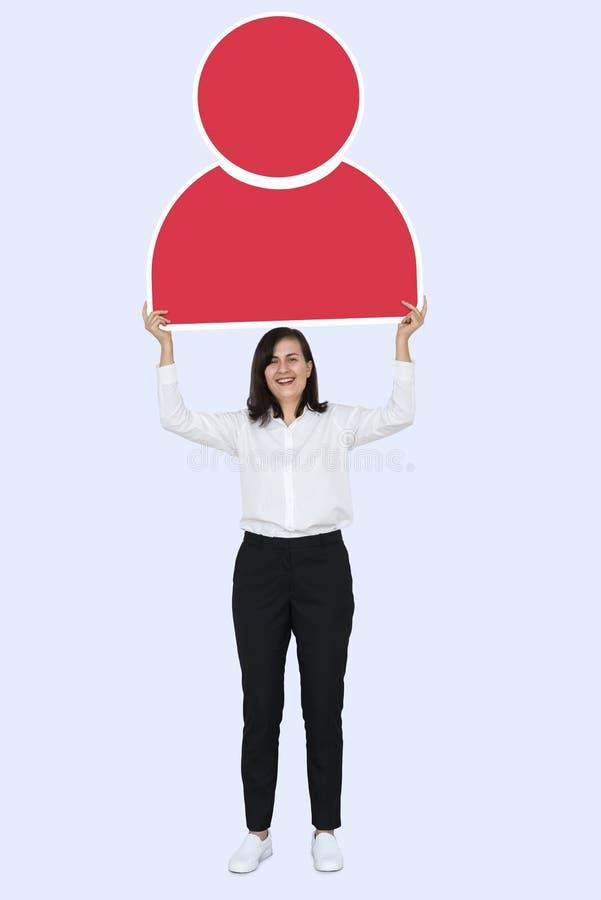 Bedrijfsvrouw met een gebruikerspictogram stock afbeeldingen