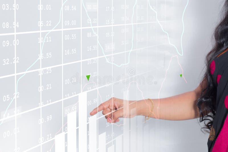 Bedrijfsvrouw met financiële grafiek royalty-vrije stock fotografie