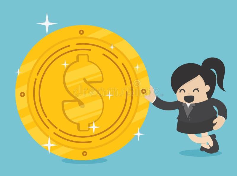 Bedrijfsvrouw met gouden dollar stock illustratie