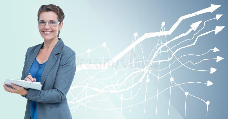 Bedrijfsvrouw met klembord tegen blauwe achtergrond met witte grafiek stock afbeelding