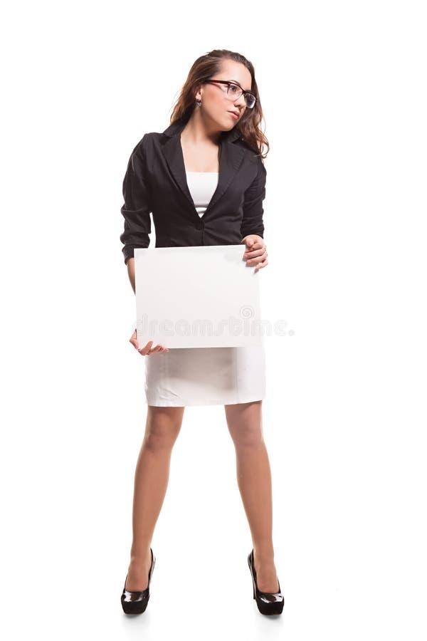 Bedrijfsvrouw met lege banner stock afbeeldingen