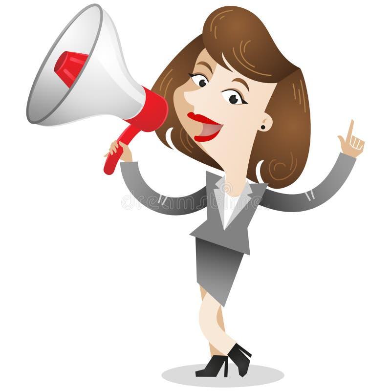 Bedrijfsvrouw met megafoon stock illustratie