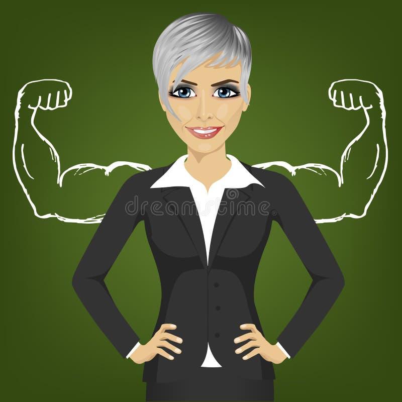 Bedrijfsvrouw met sterke wapenspieren voor succes die zich met handen op heupen bevinden stock afbeeldingen