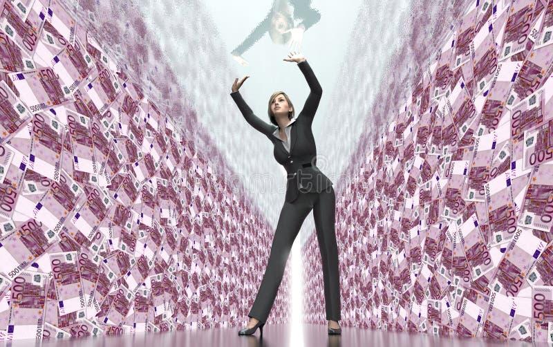 Bedrijfsvrouw onder glasplafond vector illustratie