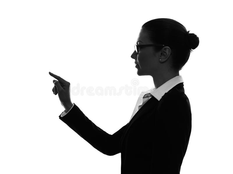 Bedrijfsvrouw wat betreft exemplaar sapce silhouet royalty-vrije stock afbeelding
