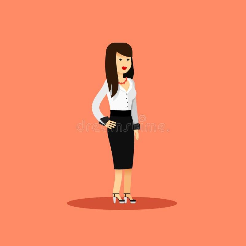 Bedrijfsvrouw in zwarte witte kostuum vectorillustratie vector illustratie