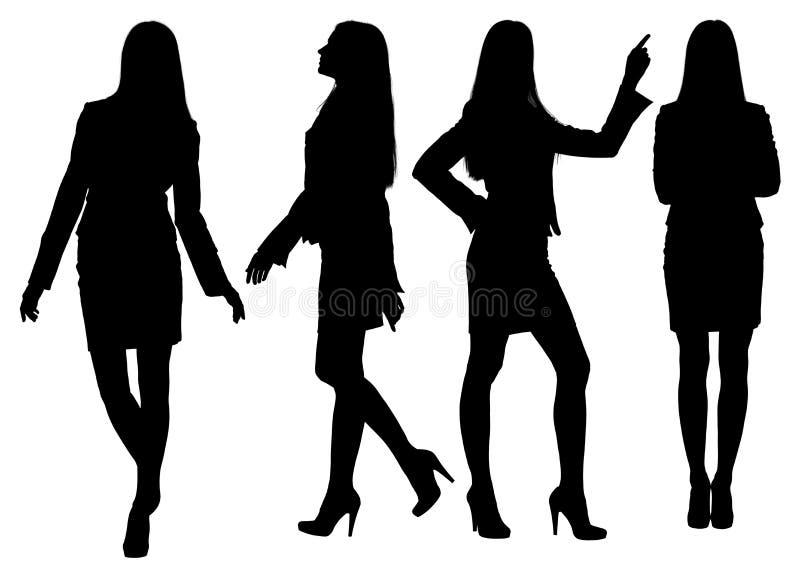 Bedrijfsvrouwen bevindend silhouet royalty-vrije illustratie
