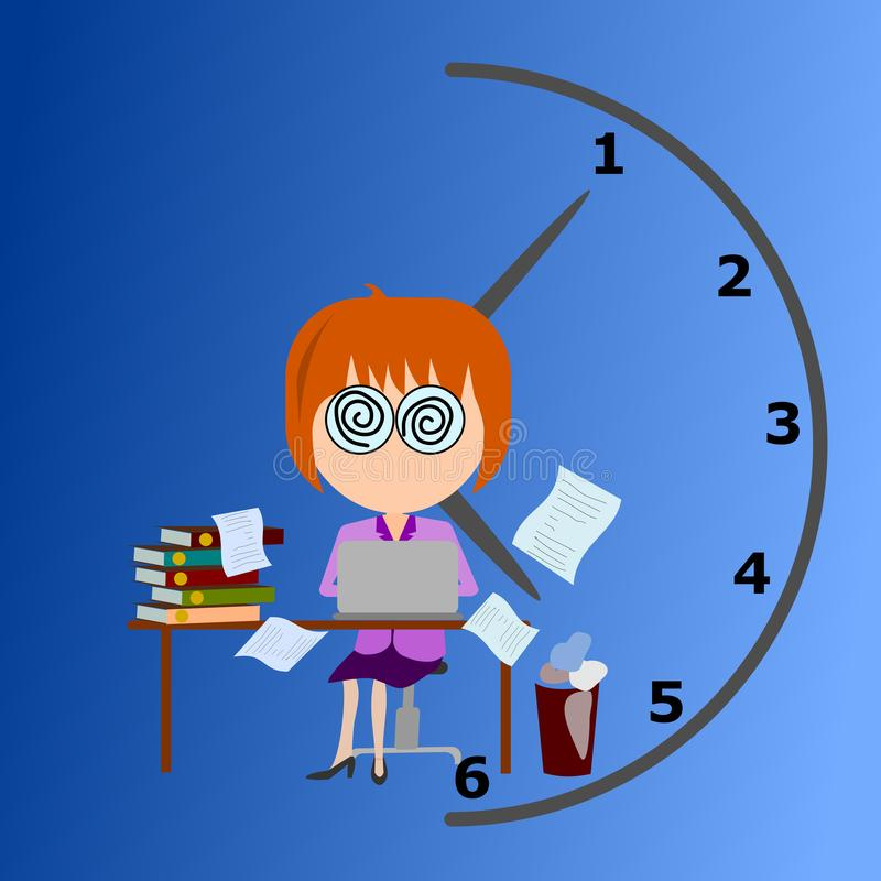 Bedrijfsvrouwen die aan bezige tijdvector werken vector illustratie