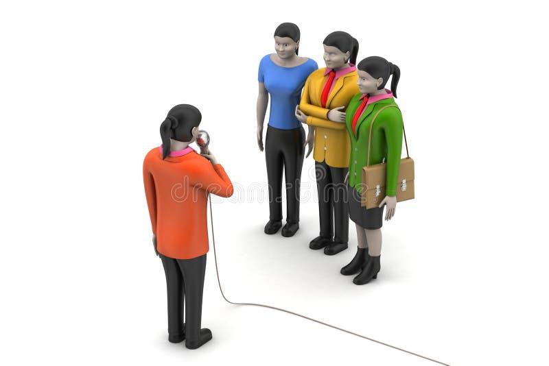 Bedrijfsvrouwen die door microfoon spreken vector illustratie