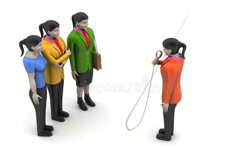Bedrijfsvrouwen die door microfoon spreken stock afbeelding