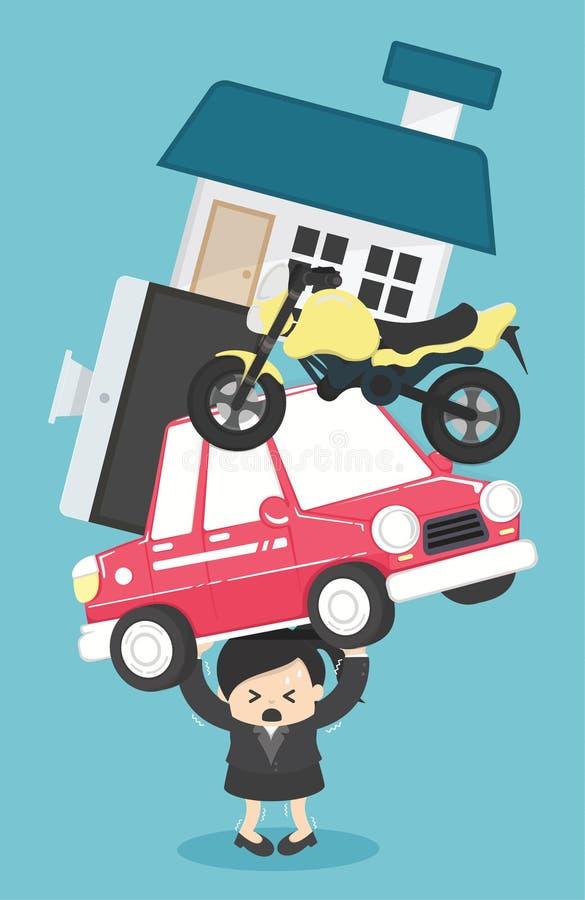 Bedrijfsvrouwenconcept schuld en hypotheeklening - vector illust royalty-vrije illustratie