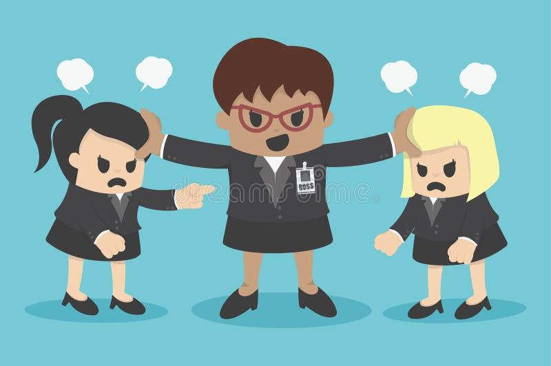 Bedrijfsvrouwenconflict of het stellen van medewerker in bureau stock illustratie