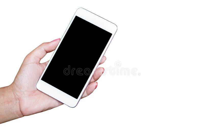 Bedrijfsvrouwenhand die slimme die telefoon houden op witte achtergrond wordt geïsoleerd royalty-vrije stock foto's