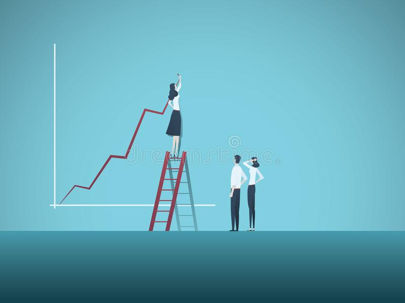 Bedrijfsvrouwenleider en groepswerk vectorconcept De groeigrafiek van de onderneemstertekening, symbool van teamsamenwerking royalty-vrije illustratie